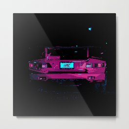 Retro Pixel Art Vaporwave Car Metal Print