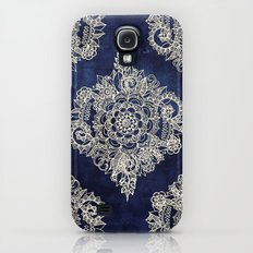 Cream Floral Moroccan Pattern on Deep Indigo Ink Slim Case Galaxy S4