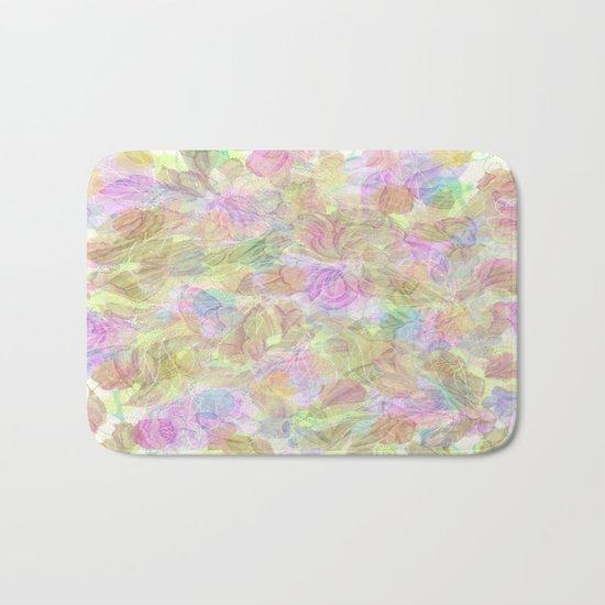 Soft Pastel Mixed Floral Abstract Bath Mat