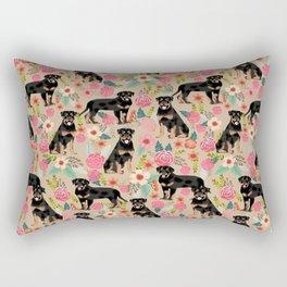 Rottweiler florals cute dog pattern pet friendly dog lover gifts for all dog breeds Rectangular Pillow