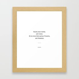 Rumi Quote On Life 10 - Minimal, Sophisticated, Modern, Classy Typewriter Print - Raise Your Words Framed Art Print