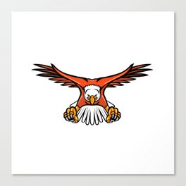 Bald Eagle Swooping Front Mascot Canvas Print