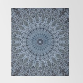 Gray and light blue mandala Throw Blanket
