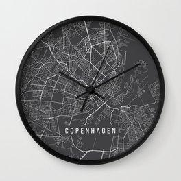 Copenhagen Map, Denmark - Gray Wall Clock