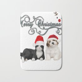 Funny Christmas Cats and Dogs T-Shirt Bath Mat