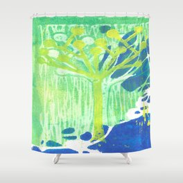 Yellow Dot Tree Shower Curtain