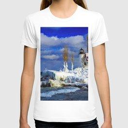 Coastal New England Winter Lighthouse Landscape Scene T-shirt