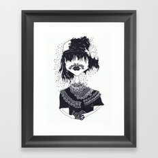 the other girl with the flower moustache Framed Art Print