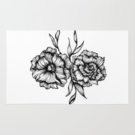 Two Inked Flowers Rug