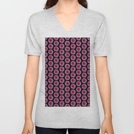 Dahlias Pattern  in Pink, Red Unisex V-Neck