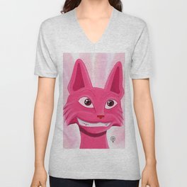 Lollipop the pinky cat Unisex V-Neck