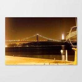 Lisbon bridge light Canvas Print