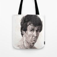 rocky Tote Bags featuring Rocky by ChrisHdzArt