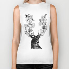 The Stag and Roses | Black and White Biker Tank