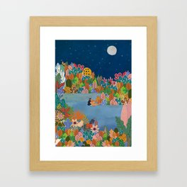 Moonlight Swimming Girl Framed Art Print