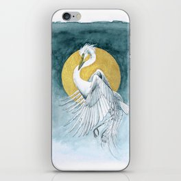 The Great White Egret and Golden Moon iPhone Skin