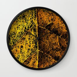 rotten yellow leaf texture Wall Clock
