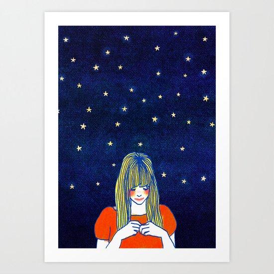 Girls in blue Art Print