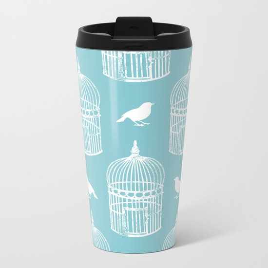 Bird Cage Pattern. Metal Travel Mug