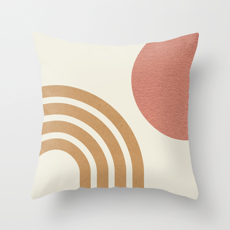 Mid Century Modern Pink Sun Rainbow Throw Pillow By Moonlightprint Society6