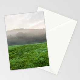 Morning mist over the fields Stationery Cards