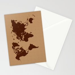 Old paper world map Stationery Cards