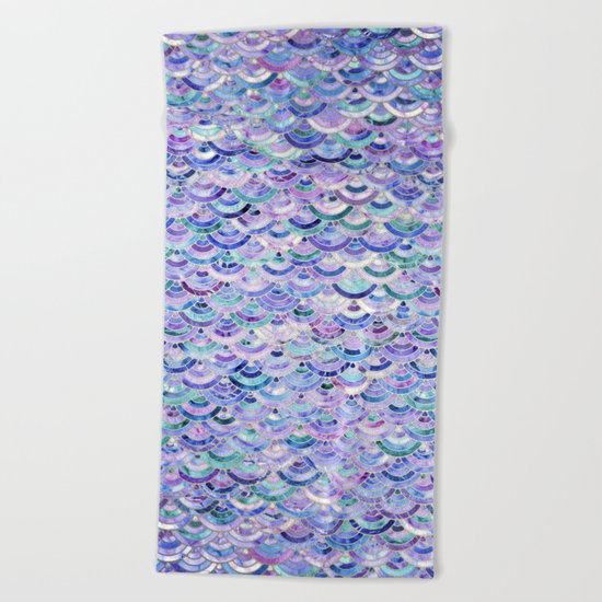Marble Mosaic in Amethyst and Lapis Lazuli Beach Towel