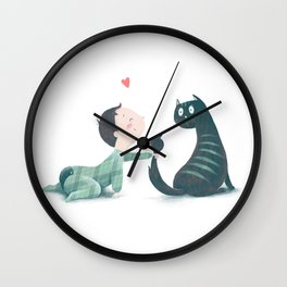 Baby and cat Wall Clock