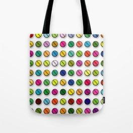 Multi-coloured Pills Pattern square Tote Bag