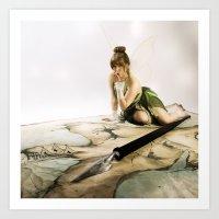 tinker bell Art Prints featuring Tinker Bell by Julie-Chantal