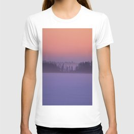 Foggy Winter Evening With Beautiful Sunset Colors In The Sky #decor #buyart #society6 T-shirt