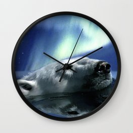 Aurora Dreaming - Swimming Polar Bear Wall Clock