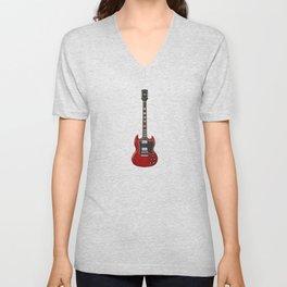 Red Electric Guitar Unisex V-Neck