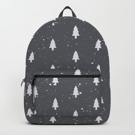 Christmas Trees Pattern Grey Backpack