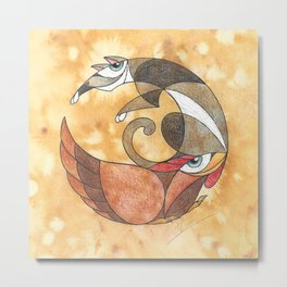 Aesop's Fables - The Cat And The Hen Metal Print