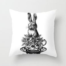 Rabbit in a Teacup | Black and White Throw Pillow