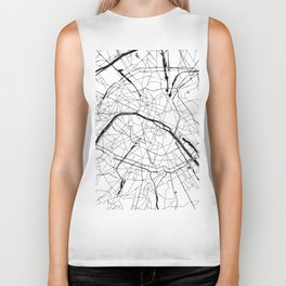 Paris Minimal Map Biker Tank