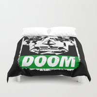 doom Duvet Covers featuring Obey DOOM by TeeKetch
