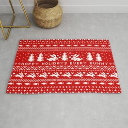 Bunnies Holiday Patterm | White Christmas Rabbits Rug