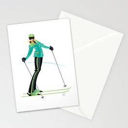 Ski Girl Lean Back Stationery Cards