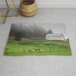 White Barn On A Foggy Morning Rug