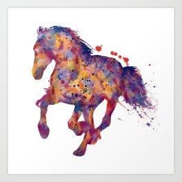 Running Stallion Silhouette Art Print