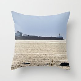 Big Ship Close to Shore Throw Pillow