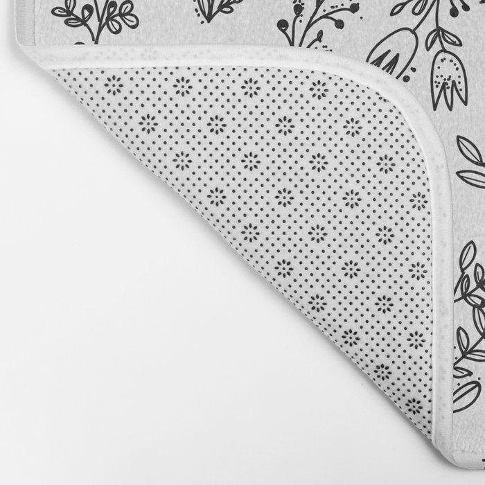 Floral White Pattern Bath Mat