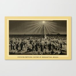 Coney Island - Evening Bathing Scene, Manhattan Beach  Canvas Print