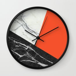Black and White Marble with Pantone Flame Color Wall Clock