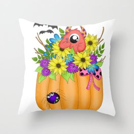 Fall Monster Bouquet Throw Pillow