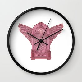 Vintage Flying Illuminati Jukebox Pink Wall Clock