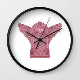 Vintage Flying Illuminati Jukebox Pink Wall Clock