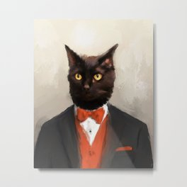 Chic Black Cat Metal Print